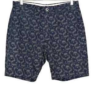 Grayers printed swirl blue cotton shorts 33 waist